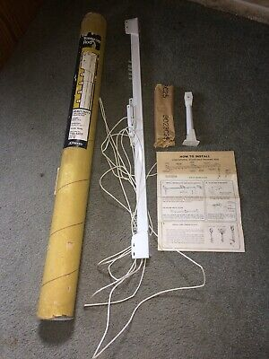Curtain Rod Traverse Rod Heavy Duty 2 Way Draw 30-48 Inches White Finish Vtg 70s