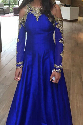 Indian Gown. Blue, Size 8. Wedding Bridal Outfit Suit Dress Silk Heavy Luxury