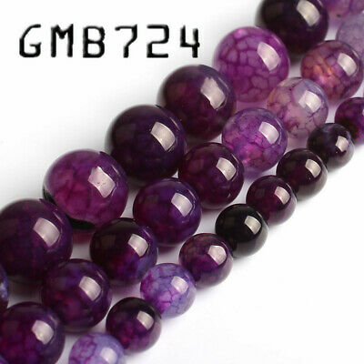 Natural Stone Purple Fire Dragon Veins Agate Stone Round Loose Beads for Jewelry