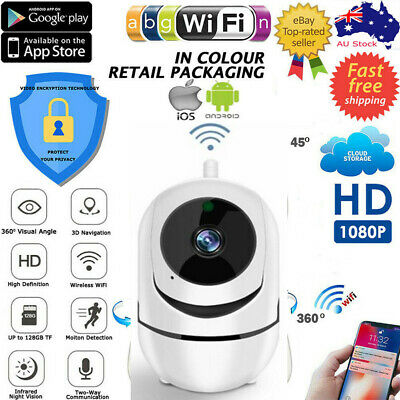 HD 1080P Wireless WiFi IP Camera Pan/Tilt Home CCTV Security System Night Vision