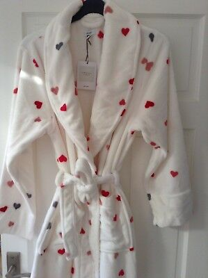 John Lewis Supersoft Cream Fleece Hearts Robe Dressing Gown. Size Large. Bnwt.