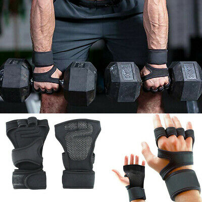 Cross Fit Leather Gel Weight Lifting Gym Fitness Body Building Gloves Training