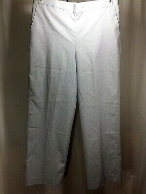Alfred Dunner Petite Gray & White Pinstripe Stretch Pants- Womens Size 12P