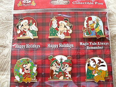 Disney * HAPPY HOLIDAYS - MICKEY & FRIENDS * New in Pack 6 Pin Booster Set