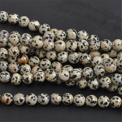 Dalmation Spot Natural Gemstone Round Spacer Beads 4mm 6mm 8mm10mm DIY Jewelry