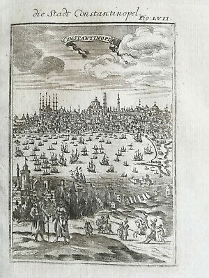 MALLET: Original Engraving Constantinople Town View with Ships - 1718(NS)
