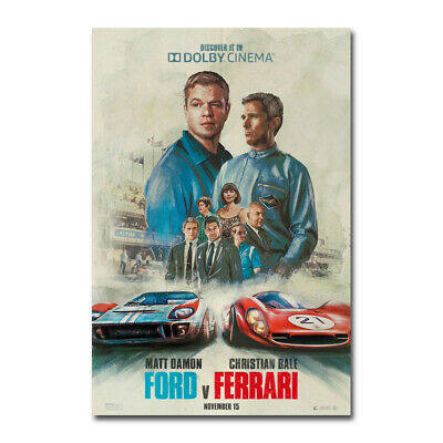 Ford v Ferrari Movie Poster Christian Bale Car Silk Film Poster Print 24x36inch