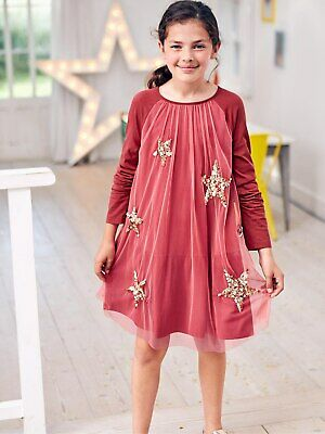 BNWT Boden Girls Sparkly Star Jersey Red Pink Dress Christmas size 11-12 years