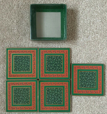 Set Of 5 Green & Red Christmas Holly Dinner Cork Backed Coasters