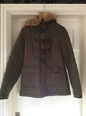 New Look Girls quilted Hooded jacket green size 14/15 years