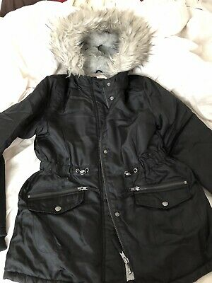 Girls Winter Coat Black Size 12-13 Years Nutmeg Fluffy Hood