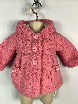 Bnwt Girls George Baby Pink Fluffy Button Hood Coat Jacket Kids Age 3/6 Months