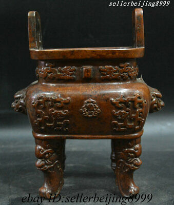Antique Chinese Dynasty Pure Bronze Foo Fu Dog Lion Dragon Incense Burner Censer