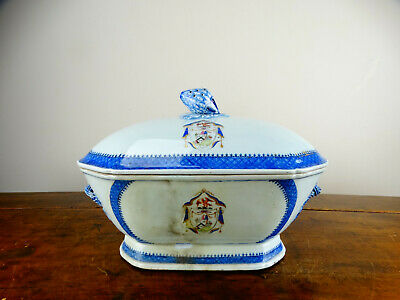 Antique Chinese Export Porcelain Tureen Bowl & Cover Armorial Crest 18th Century