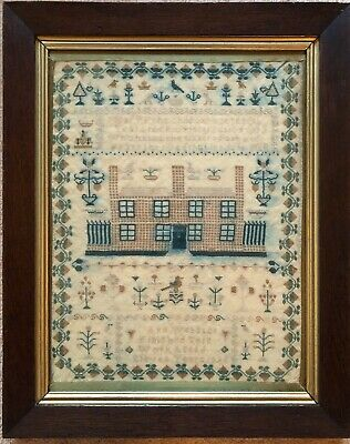 19th c Victorian Antique  House Sampler .Ann Webster 1835 ,framed glazed.