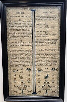 Gorgous Victorian Antique Sampler.Fine text set like open pages. Saunders 1836