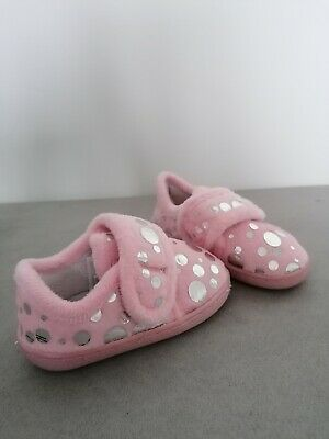 Baby Girls Slippers Size 5 Pink Polka Dot George Fluffy Velcro