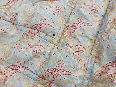 old Vintage single bed Feather Quilt Eiderdown cover throw bedspread Paisley