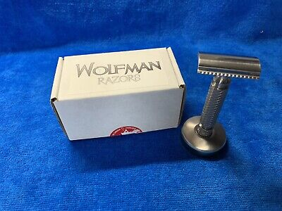 Wolfman WR1-SB .74 w/ WRH2 Handle and WRA1 Stand (Brushed) DE Safety Razor