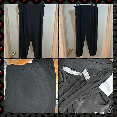 Lisa Rinna Collection Stretch Knit Cropped Jogger Pants A341719 BLACK SZ XL