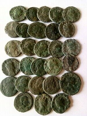 001.Lot of 28 Ancient Roman Bronze Coins,Uncleaned