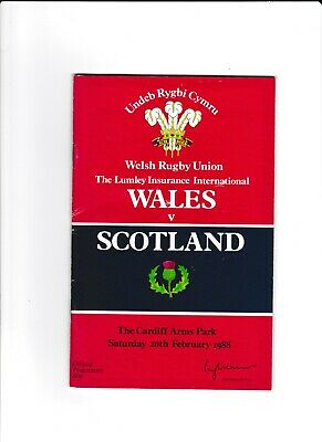WALES v SCOTLAND 1988 RUGBY PROGRAMME 20 Feb at CARDIFF