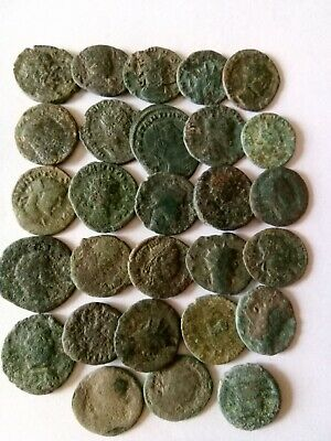 004.Lot of 28 Ancient Roman Bronze Coins,Uncleaned