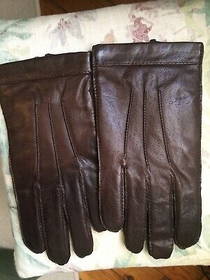 New Marks & Spencer Brown Leather Gloves Size Medium