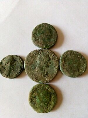 006.Lot of 5 Ancient Roman Big Bronze Coins,86,6gr,Uncleaned