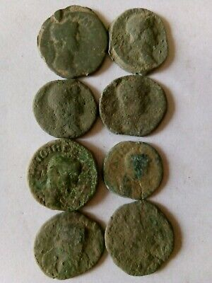 008.Lot of 8 Ancient Roman Big Bronze Coins,Uncleaned,50gr