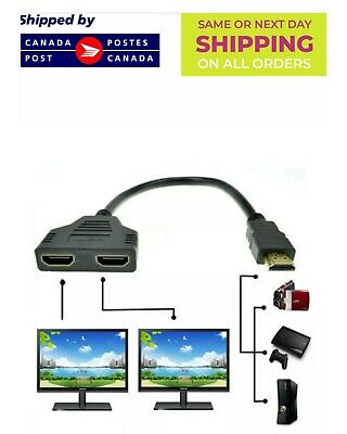 HDMI Male to Dual HDMI Female 1 to 2 Way Splitter Cable Adapter
