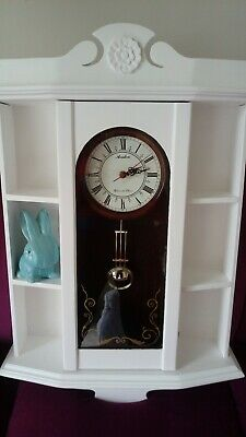 Antique Painted Wall Clock With Storage Display Shelving On Either Side