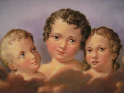 Antique H.p. Dresden Porcelain Plaque - 'Three Children' Weine Nicht""