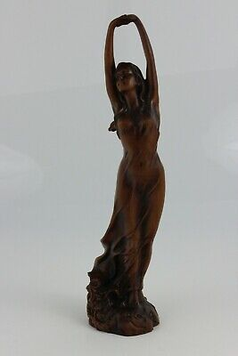 Antique 19th Century Chinese Hand Carved Boxwood  Sculpture Dancer Figure 23cm