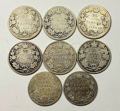 Canada 1902 to 1910 Silver 25 Twenty Five Cents 8 Coin Lot Collection