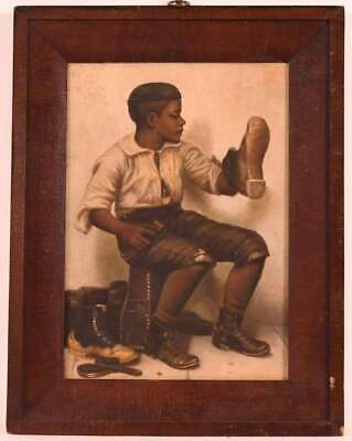 Antique Oil on Canvas of Shoeshine Boy Appears Unsigned Original Black Americana