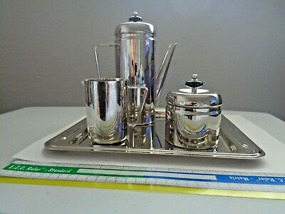 Stunning Vintage Silver Plated Deco Style Coffee Serving 4 Pcs Set