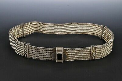 Middle Eastern Silver Belt with Genuine Diamonds and Black Stone