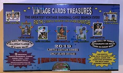 2019 Vintage Cards Treasures 1952 Topps Mantle Rookie Chase Box Baseball Packs!