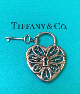 Tiffany & Co Sterling Silver Filigree Heart with Key Pendant or Charm