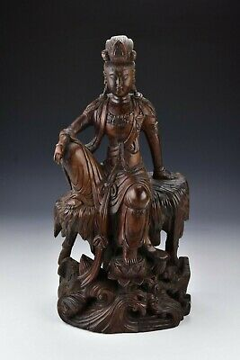 Large Chinese Carved Wood Kwan Yin Statue 18th / 19th Century