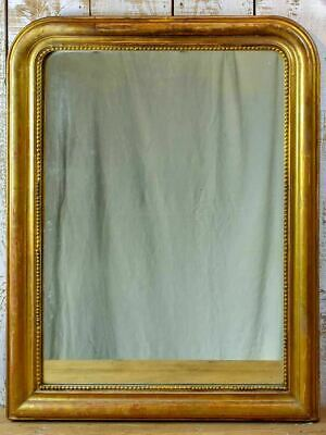 19th Century French Louis Philippe mirror with gilded frame and running pearl 28
