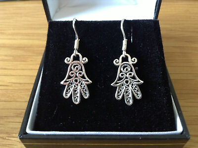 Sterling Silver Hand of Fatima Design Earrings for Piered Ears BNWT/Boxed