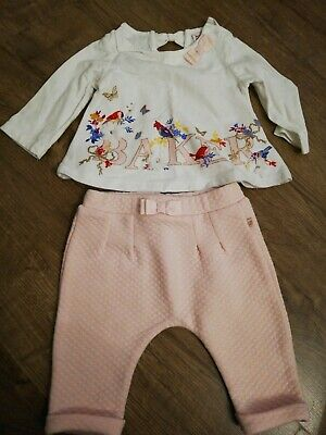 Ted Baker Baby Girl Outfit Top And Leggings Pink Flowers Gorgeous Quilted...