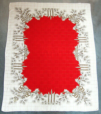 Vtg Tablecloth Christmas Pine Cones Candles Ribbons Red 1950s 51x65.5 Cotton