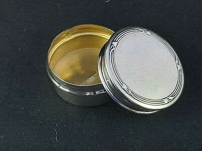 Very pretty Silver PILL BOX Art Nouvea inspired WW1 Sweetheart gift silver gilt