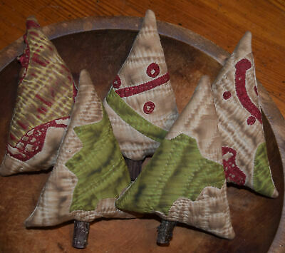 Primitive 5 Quilt Christmas Tree Bowl Fillers Cupboard Tucks Red Green Winter
