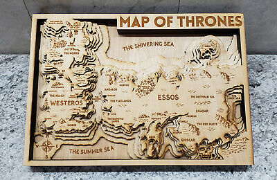 """NEW Game of Thrones Wood 3D Topo Topographic Map  16"""" x 11.5"""""""
