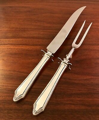 Towle Silversmiths Sterling Silver Handled Large Carving Set Virginia Carvel