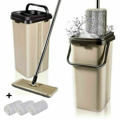 BOOMJOY Microfiber Flat Mop with Bucket Cleaning Squeeze Hand Free